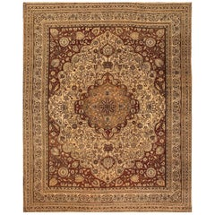 Antique Oversize Brown and Tan Agra Indian Carpet