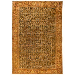 Antique Oversize Beige and Blue Persian Sultanabad Carpet