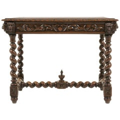 French Carved Oak Writing Table