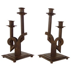 Pair of 1920s Steel Bauhaus Candlesticks, French