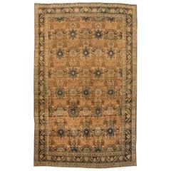 Antique Oversize Beige and Blue Persian Tabriz Carpet