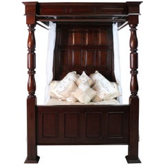 17th Century English Style Panelled Mahogany Four-Poster Tester Bed