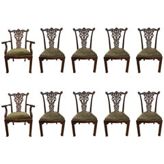 Set of Ten 19th Century Mahogany Carved Chippendale Dining Chairs England