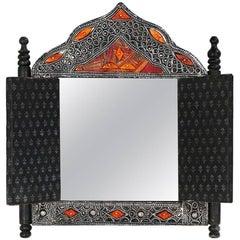 Decorative Moroccan Door Form Wall Mirror Camel Bone Inlaid