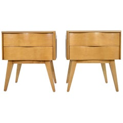 Pair of Edmund Spence Wavy Front Nightstands