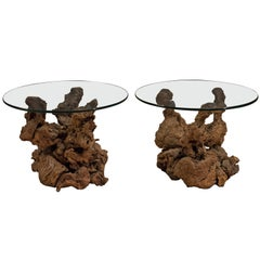 Vintage Pair of Burl Root End Tables