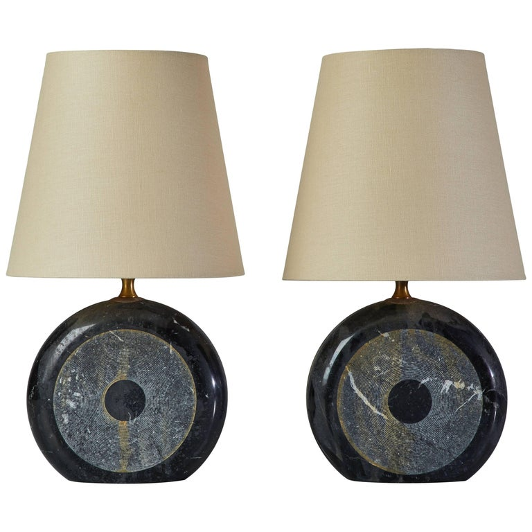 Pair of Italian Marble Table Lamps