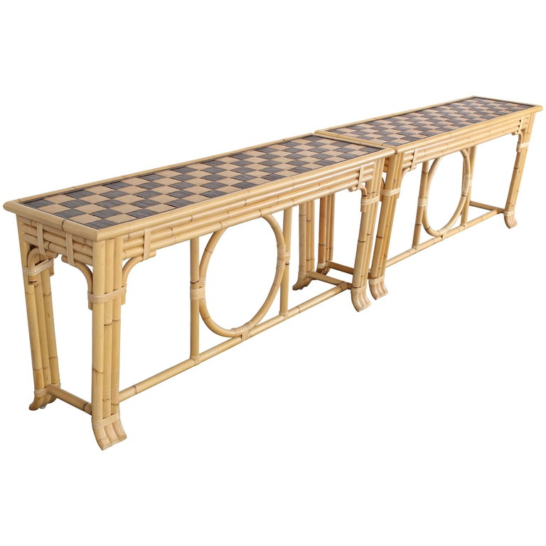 McGuire Style Bamboo Console Table, 1980