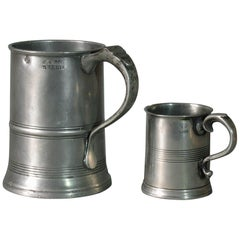 Victorian Quart Taper-Sided Pewter Tankard by Morgan & Gaskell of Birmingham