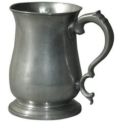 "Fine Double ""C"" Handled Quart Tulip Export Pewter Tankard Townsend & Compton"