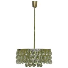 Large  Silvered Brass and Glass Chandelier by Palwa/Bakalowits, circa 1960s