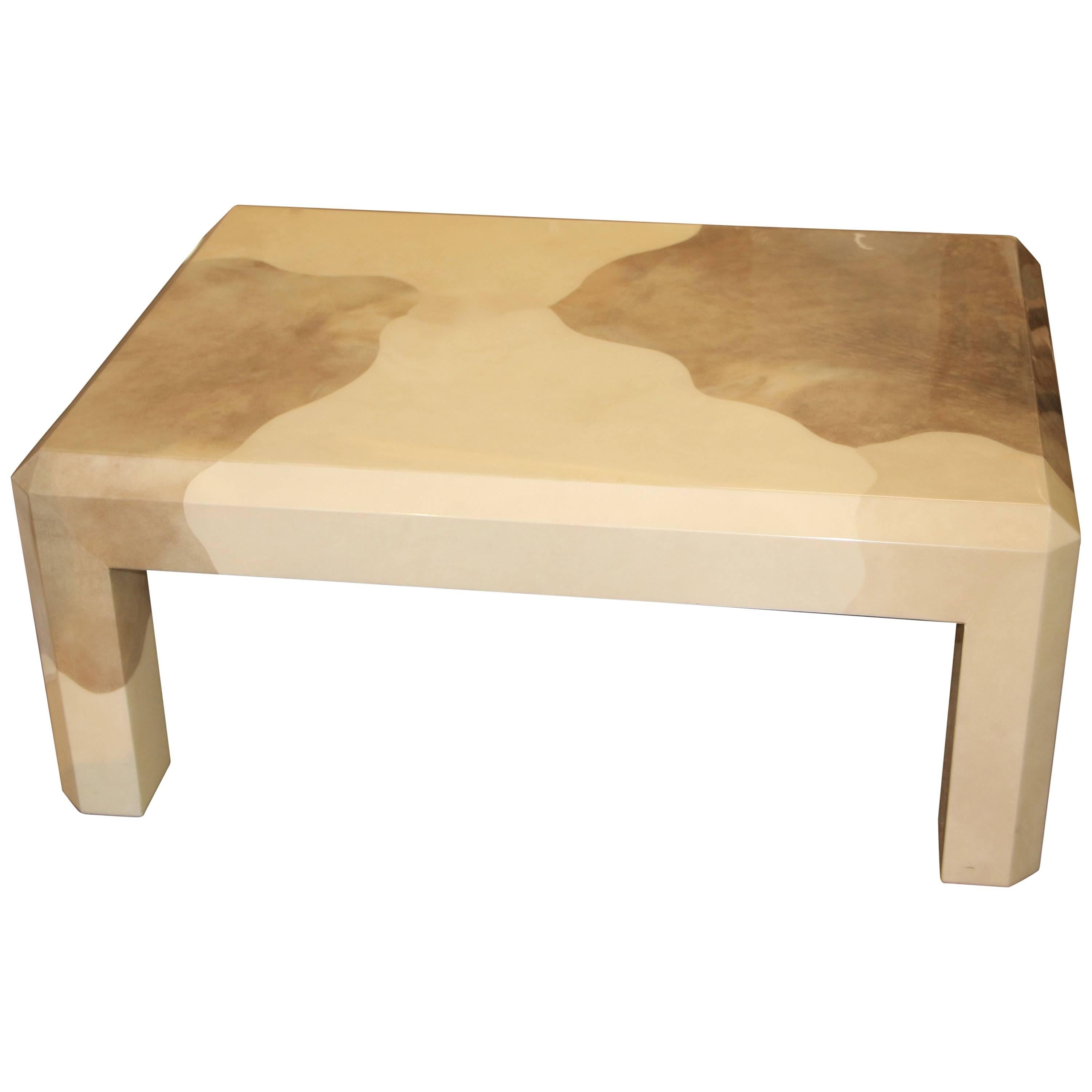 Karl Springer Two Color Goatskin Parchment Coffee Table