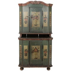 19th Century Austrian Painted Cabinet Dated 1837