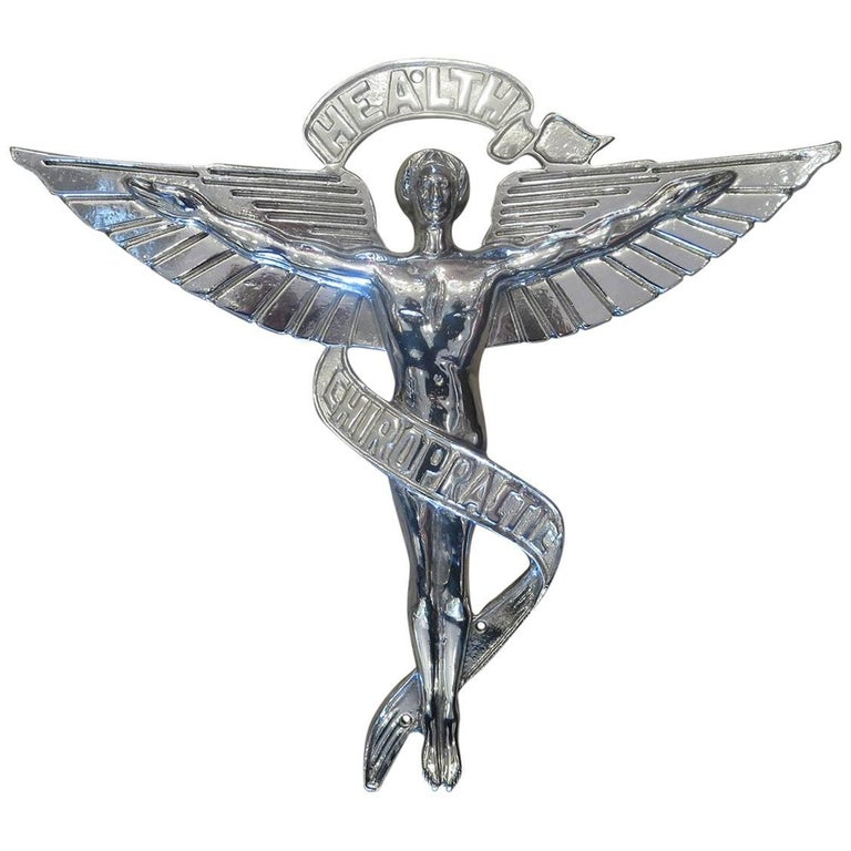 Chiropractic Caduceus Plaque in Polished Aluminum For Sale