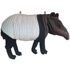 1960s Woven Macrame Tapir Wall Hanging Sculpture