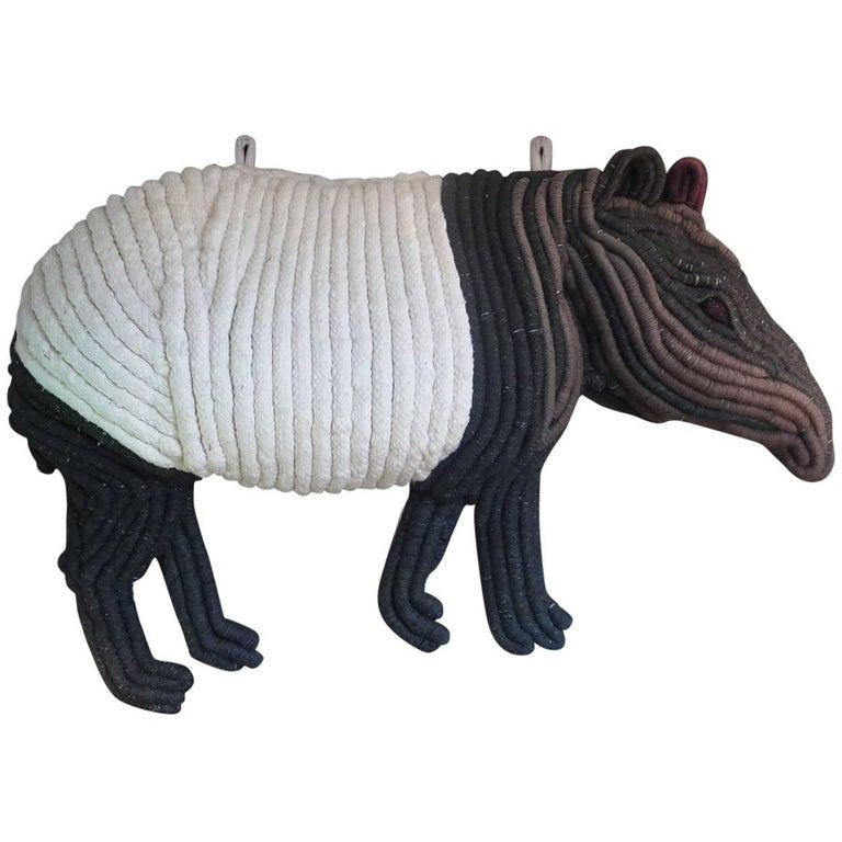 1960s Woven Macrame Tapir Wall Hanging Sculpture For Sale