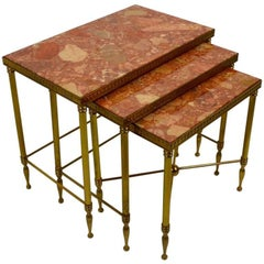 Brass and Marble Nesting Tables Attributed to Maison Bagues