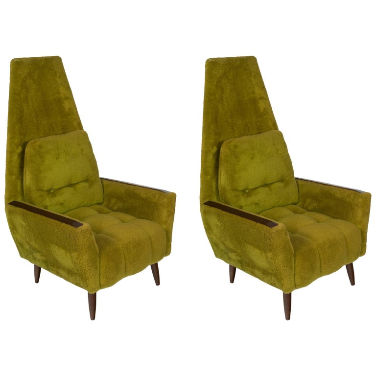 Pair of 1950s High Back Lounge Chairs