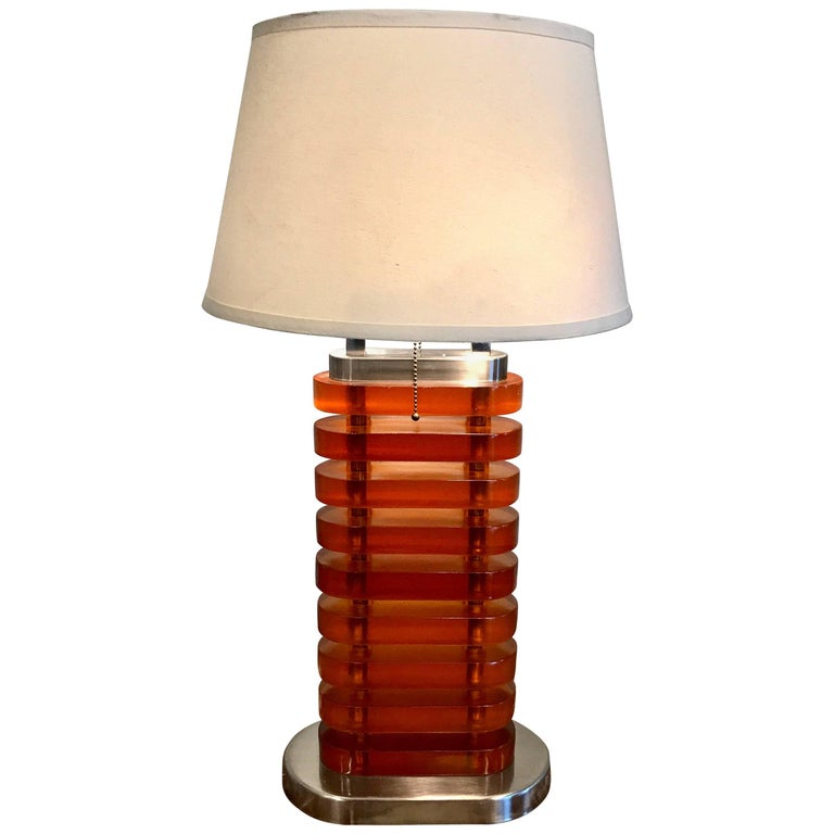Large Midcentury Stacked Amber Lucite Lamp For Sale