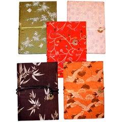 Lot of Five Silk Brocade Journals