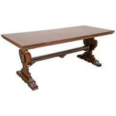 19th Century Italian Baroque Style Walnut Trestle Table with Fruitwood Marquetry