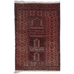 Handmade Vintage Prayer Turkmen Hachli Rug, 1940s