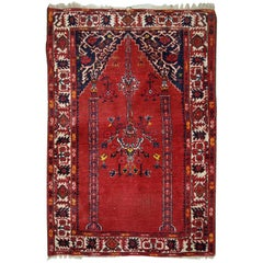 Handmade Antique Turkish Anatolian Prayer Rug, 1940s