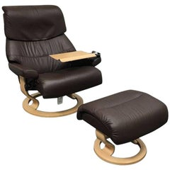 Ekornes Reclining Chair and Ottoman Set