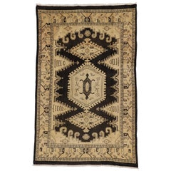 Vintage Persian Mahal Rug with Tribal Adirondack Lodge Style
