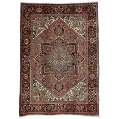 Traditional Vintage Persian Heriz Rug with Manor House Style