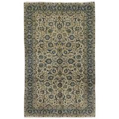 Light Blue Vintage Persian Yazd Rug