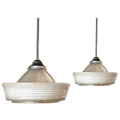 Pair of Industrial Brimmed Dome Prismatic Holophane Pendant Lights