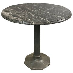 Industrial Black Marble Cast Iron Pedestal Café Bristro Dining Table