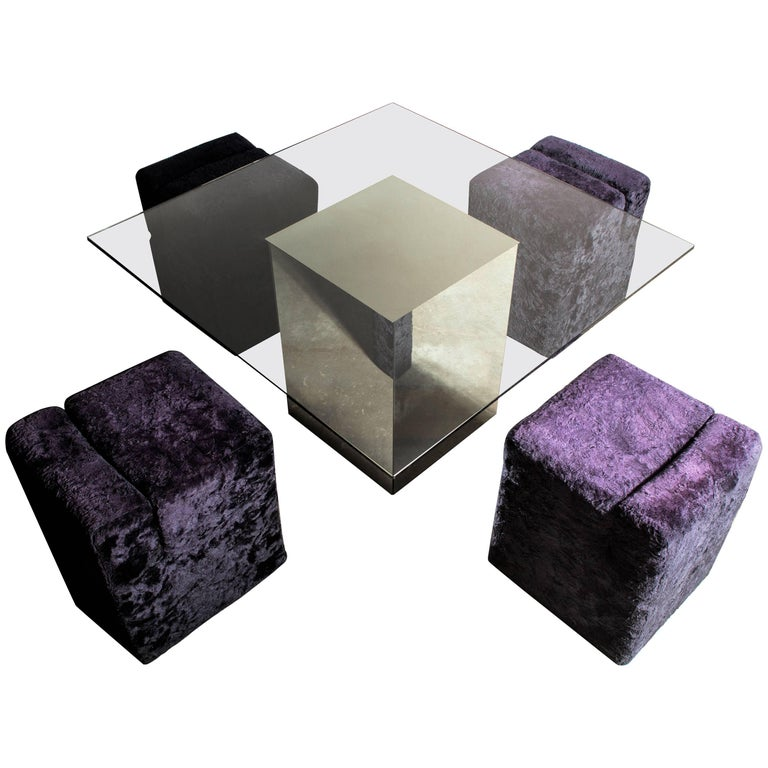 Vintage Block Table with Blocco Pouf Set by Nanda Vigo, 1970, Italy For Sale
