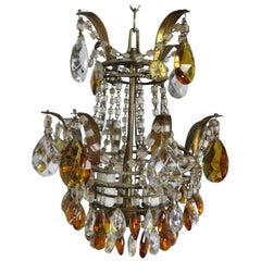 Italian Amber and Clear Crystal Beaded Chandelier