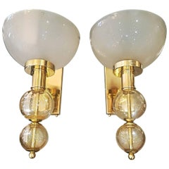 Pair of Italian Sconces Murano Glass and Brass