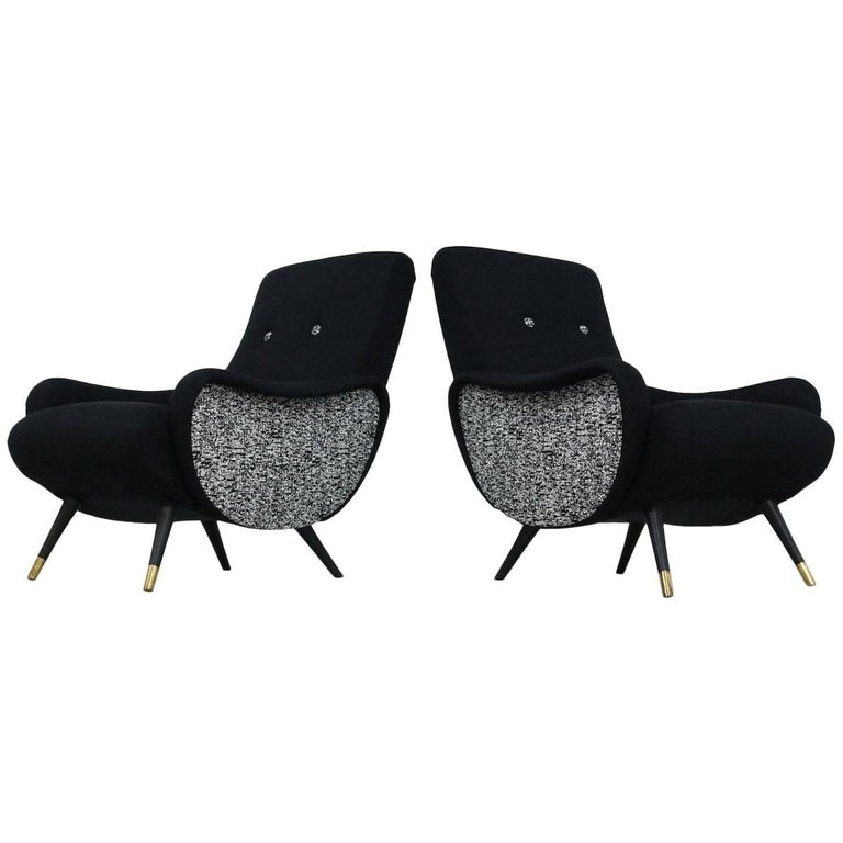 Set of Two Black 1950s Easy Chairs Italian Style