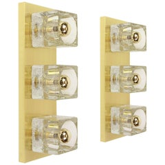 Pair of Exclusive Crystal Glass Brass Wall Sconces by Peill & Putzler, Germany