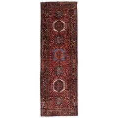Vintage Persian Karaja Heriz Gallery Rug, Wide Hallway Tribal Style Runner