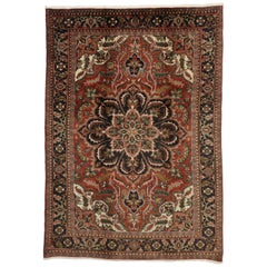 Traditional Vintage Persian Heriz Rug with Jacobean Style