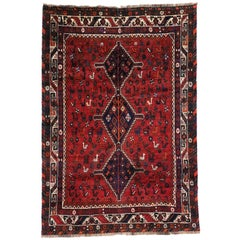 Vintage Persian Shiraz Rug with Tribal Style