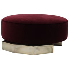 Modern Oversized Pouf Ottoman Handcrafted with Silvered Brass Geometric Base