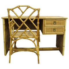 Palm Beach Bamboo Desk and Chippendale Chair