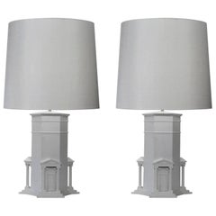 Pair of White Grand Tour Table Lamps of Greek 'Tower of the Four Winds' Athens