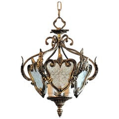 Early 20th Century Bronze and Molded Glass Thee-Light Lantern