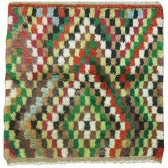 Vintage Turkish Mosaic Motif Turkish Shag Rug