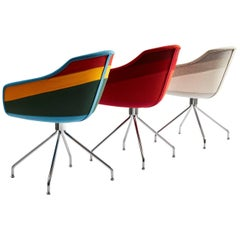 Moroso Canal Chair by Luca Nichetto in Seven Fabric Stripe & Three Base Options