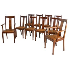 Set of Ten Arts & Crafts Oak Dining Chairs with Leather Seats