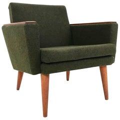 Norwegian Stokke Dark Green Wool and Teak Armchair Midcentury Chair, 1960s