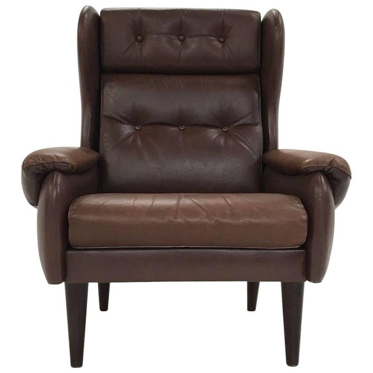 Danish Brown Leather High Back Armchair Midcentury Chair, 1970s